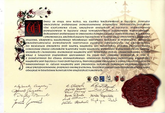 Certyfikat Nagrody Benedykta Polaka